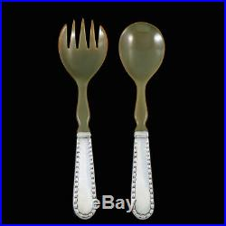 Georg Jensen. Sterling Silver Salad Serving Set with Horn 342B Perle / Rope #3