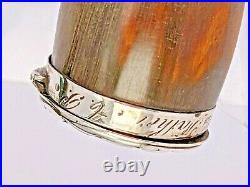 Georgian snuff mull horn body with silver fittings circa 1800