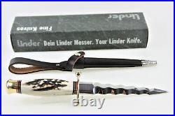 German Linder Kris Flame Dagger With Stag Horn Handle & Leather Sheath In Box