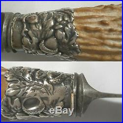 Gorham Carving Set with Antler Horned Handles & Boar's Head Sterling Silver