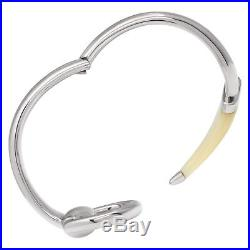Gucci Horsebit Contraire sterling silver bracelet with white horn