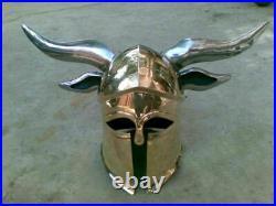 Halloween Steel Medieval Viking Barbarian Corinthian Helmet With Steel Horns