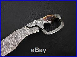 Hand forged Damascus steel hunting Knife 14 fixed blade with Sheep Horn Handle