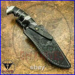 Handmade Carbon Steel Tactical Fighting Hunting Bowie Knife With Leather Sheath