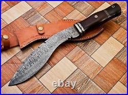 Handmade Damascuas Steel Kukri With Wood Handle And Damascuas Steeel
