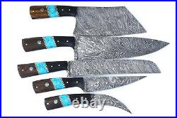 Handmade Damascus Steel 5 Pc's Knife Chef Set with Turquoise/Horn/Wood Handle