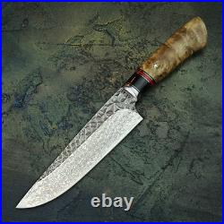 Handmade Damascus Steel Best Kitchen Meat Cooking Chef's Gyuto Knife with sheath