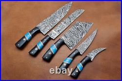 Handmade Damascus Steel Chef Set With Black Horn and Turquoise Stone Handle