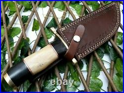 Handmade Etching Blade Steel Bone/horn Hunting Knife With Brass Pommel And Guard
