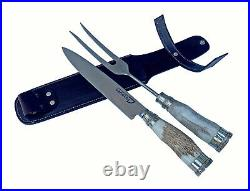 Handmade carving set with handle of deer horn and nickel silver. Includes sheath