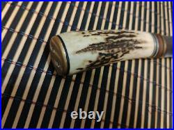 Handmade hand forged hunting knife with deer horn handle