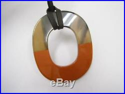 Hermes Buffalo Horn Pendant Necklace 80cm Accessories With Box From Japan. BJ102