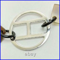 Hermes Long Necklace Buffalo Horn Silver925 Length 30.7 in. With a Keepign Bag