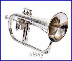 High Grade Silver Nickel Flugelhorn 3 Valves With Free Case & Shipping Pro Horn