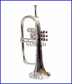High Grade Silver Nickel Flugelhorn 3 Valves With Free Case &/shipping Pro Horn