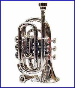 High Level Silver Nickel Plated Pocket Trumpet Large bell Bb Horn With Case+mp