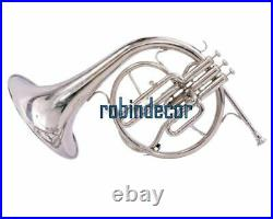 Horn Mellophone Professional Silver Finish French Horn New Designe Bb with box