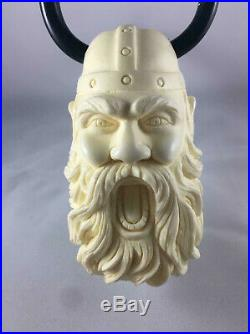 Horned Viking Pipe with Silver, Viking Figure Pipe, 100% Solid Block Meerschaum