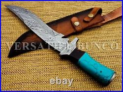 Hunting knives Damascus steel knife with stone and horn handle