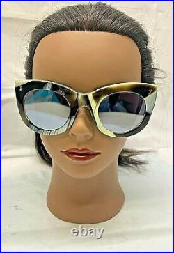 Illevesta Boca Horn/ Silver Flat Mirror Sunglasses New with Hard Case