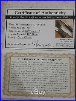 Impact cutlery D2 Tool Steel Knife Bull Horn Handle With Brass Riveted