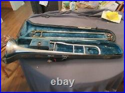 J W York & Sons Trombone 1890 antique horn, good condition with case