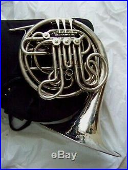 JEAN BAPTISTE Silver F/Bb DOUBLE FRENCH HORN with. Case & NEW MPIECE $299