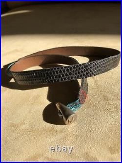 JVDF Lizard Wrap Bracelet With Silver Horn Closure