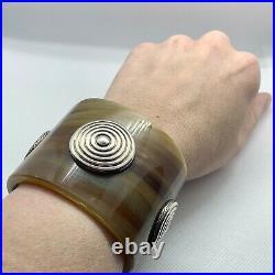 John Hardy Buffalo Horn cuff With Silver Bedeg Dots Wrist Size Small