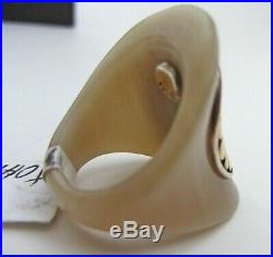 John Hardy Dot Moon Saddle Ring Gold Silver with Buffalo Horn size 7 NEW