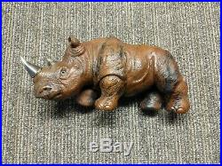Karl Faberge Large Jasper Rhino with 84 Silver Horns & Set Genuine Ruby Eyes