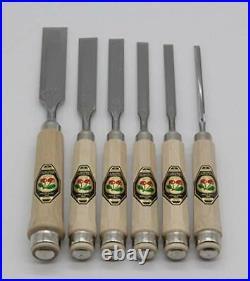 Kirschen 1112000 Firmer Chisel Set with Horn Beam Handle, Beige/Silver, 6tlg