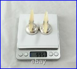 Knife rests(2), 925 silver, with mother of pearl horns