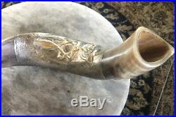 Kudu Horn Shofar with Star Of David Menorah & Olives Silver Inlaid New 26 L