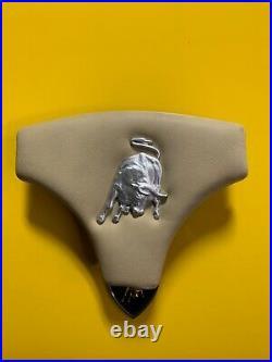 Lamborghini Diablo Style Replica Horn Pad with Rare OEM Matte Silver Bull Emblem