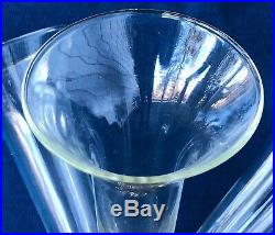 Large Japan Made Clear Glass 5 Horn Tulipiere Flower Vase With Silver Base #732