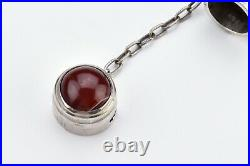 Long Scottish Silver and Horn Snuff Mull with Round Agate 19th Century