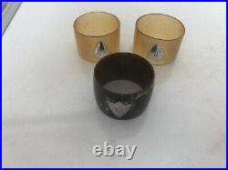 Lot Of 3 Scottish Cow Horn Napkin Rings With Silver Initialled Cartouche