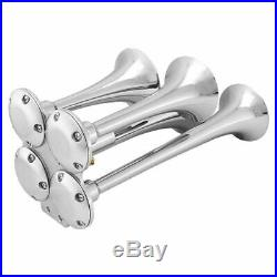 Loud 149dB 4/Four Trumpet Train Air Horn with 12V Electric Solenoid Zinc al U3A8
