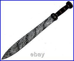 Louis Salvation Best Handmade Damascus Steel Sword With Bull Horn Handle