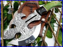 Louis Salvation Best Handmade Etching Axe Tomahawk D2 Tool With Bone/bull Horn