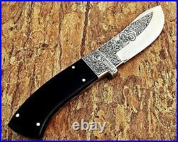 Louis Salvation Best-seller Handmade Engraved Hunting Knife With Bull Horn Handl