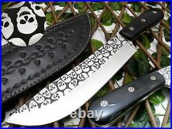 Louis Salvation Custom & Handmade Etching Steel Blade With Bull Horn Handle