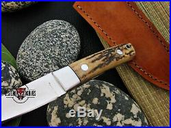 Loveless Style Custom Made D-2 Tool Steel Stag Horn Chute Knife With Pouch