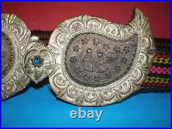 Macedonian/Greek/Bulgarian handmade old authentic silver buckles with horn tile