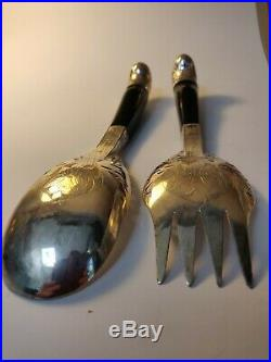 Malay Antique Horn Serving Spoons with Silver Mounts