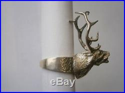 Massive ring DEER with horns Sterling SILVER Cervus Jewelry gift Stone Unisex
