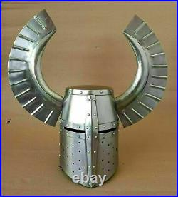 Medieval Knight Crusader Armour Helmet With Metal Horned