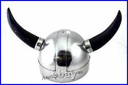 Medieval Steel Helmet Armor With Horn SCA LARP Silver Finish Helmet