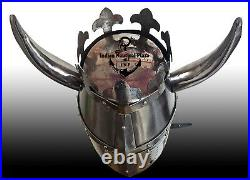 Medieval TEMPLAR Crusader Knight Grand Master Helmet with Metal Horn 18GA Hallow
